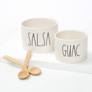 BNIB Rae Dunn Salsa & Guac Bowls w Wooden Spoons
